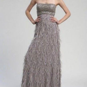 Sue Wong Strapless Beaded Feather Platinum 8 #185